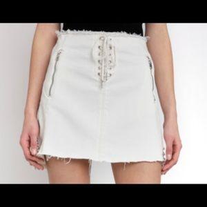 BlankNYC lace up white denim skirt
